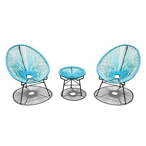 Harmonia Living Acapulco 3 Piece Patio Bistro Set in Glacier Blue