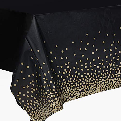 2 Pcs Manteles Mesa 137x270cm Manteles Plásticos Impermeables Rectangulares con Lunares para Banquetes Cenas Fiestas Navidad Bodas Bautizo Picnics Bufé Cumpleaños Barbacoas (negro dorado)