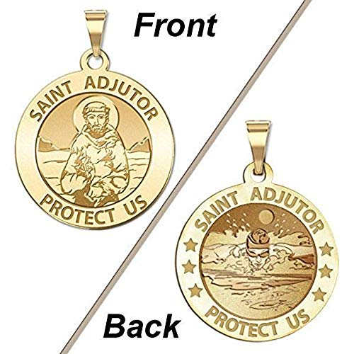 PicturesOnGold.com Saint Adjutor Doubles Sided Male Swimmer Religious Medal - - 2/3 Inch Size of Dime, Sterling Silver