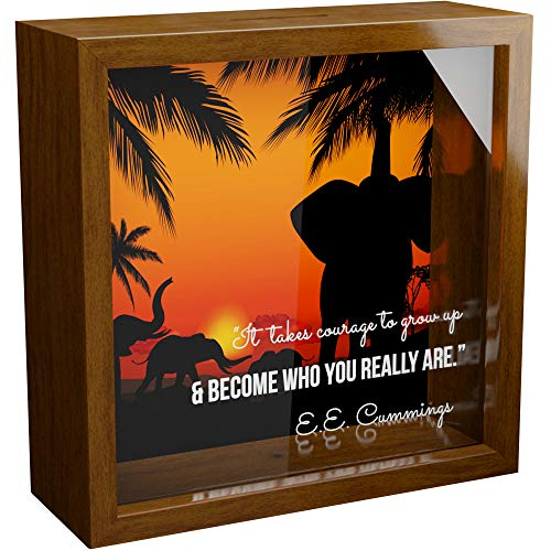 Elephant Gifts | 6x6x2 Memorabilia Shadow Box for Elephants Lovers | Elephant Themed Keepsake Framed Box for Wall or Desk Decor | Unique Memory Box for Men and Women | Safari Themed Home Decorations