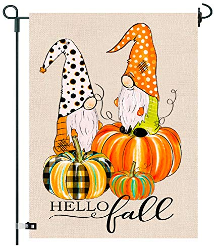 GRNPOWER Hello Fall Garden Flag - Fall Decor for Yard Outdoor Farmhouse Patio Lawn Autumn Decoration, Pumpkin Gnomes Flag, 2-Sided Vertical burlaps 12.5 x 18 in,with Rubber Stopper and Anti-Wind Clip