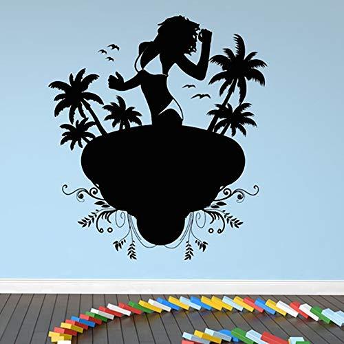 shiyueNB Een Dame, die Bikini op het strand draagt muursticker palmen vogels muursticker verwijderbaar Home Decor woonkamer Bedroo 64 x 58 cm