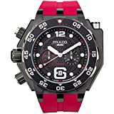 Mulco Buzo Helio Quartz Swiss Chronograph Movement Men's Watch | Premium Analog Display with Steel Accents | Silicone Watch Band | Water Resistant Stainless Steel Watch | Black Ion-Plated (Red)