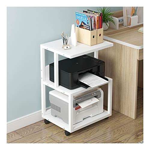 Xiaokeai Printer Stand 3 Shelf Mobile Printer Stand Paper Organizer 3D Printer Media Cart with 4 Swivel Wheels Printer Desktop Stands (Color : White-c)