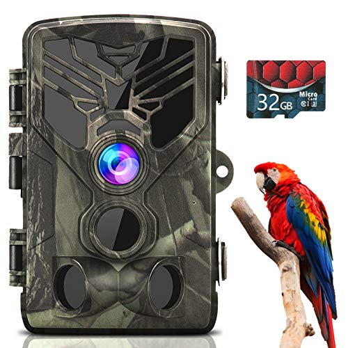 Trail Camera 1080P 20MP, Trail Cam with 32GB Card, Game Cameras with Night Vision Motion Activated Waterproof, Hunting Camera with 0.3s Trigger Time 80FT Trigger Distance 120° Wide Angle Lens 2' LCD.