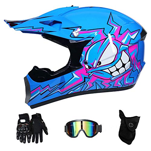 LTongx Adult Motocross Helm MX Motorradhelm-Roller ATV Helm Straßenrennen D.O.T Zertifiziert Pink mit Handschuhen Windproof Maske Goggle-4-tei-Stück,S(52~53cm)
