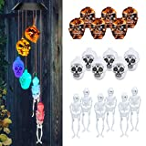 Halloween-Decorations-Outdoor-Lights, Solar Powered Skeleton Wind Chime Lights with 18 Skeleton, Waterproof Solar Halloween Lights Decorations for Outdoor Halloween, Party, Christmas (Skeleton Decor)