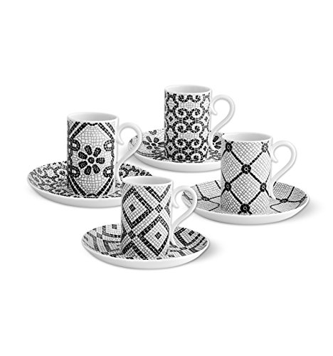 Juego de 4 tazas de café y platillos de porcelana portuguesa Vista Alegre.