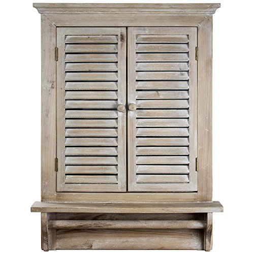 """American Art Decor Rustic Country Window Shutter Wall Vanity Accent Mirror with Shelf and Towel Rod (28.25""""H x 21""""L x 4.75""""D)"""