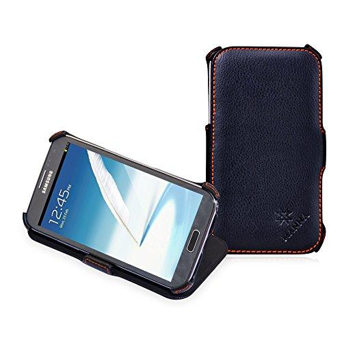 Manna Leder-Schutzhülle für Samsung Galaxy Note 2 N7100, zum Aufklappen, ultradünn, Schwarz