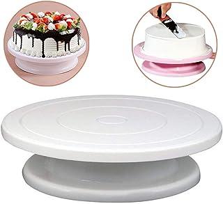 プラスチックケーキプレートターンテーブル回転滑り止めラウンドケーキスタンドケーキ飾る回転テーブルキッチンdiyパンベーキングツール (白)