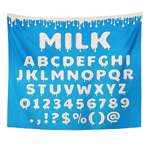 Tapiz Leche Alfabeto latino ABC con salpicadura y gota de líquido blanco para envases de productos lácteos Números Tapiz Decoración para el hogar Colgante de pared 150x130cm