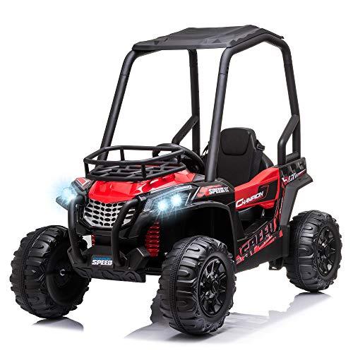 HOMCOM Voiture électrique Enfant 3 à 8 Ans - Buggy Quad électrique 120 W - V. Max. 6 Km/h - télécommande - Effets Lumineux sonores - Rouge