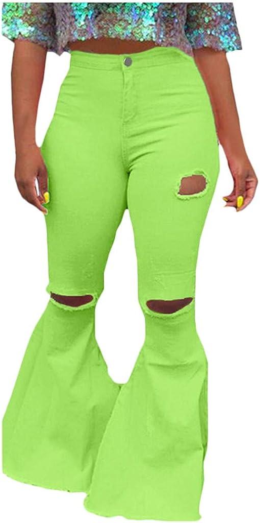 WUAI-Women Bell Bottoms Jeans Classic High Waist Bootcut Flared Denim Pants Plus Size
