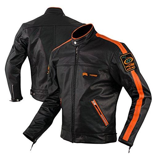 Lederjacke Anilin CE Protektoren Motorrad Roller Custom Thermofutter Orange XL