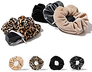 Velvet Scrunchies with Pocket Hidden Zipper Stash Hair Ties Elastic Bands for Girls Women Hair Accessories Great Scrunchy ...