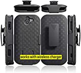 Kyocera Duraforce Pro 2 Case Works with Wireless Charger, Microseven Kyocera DuraForce PRO-2 Phone (Verizon) E6910 E6900 Belt Clip Holster Cover [Kickstand] Compatible Duraforce Pro-2 Phone