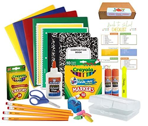 Elementary Back to School Essentials Supplies Bundle Grades Kindergarten - 5th and An EXCLUSIVE GiftsOfJoy Back to School Checklist
