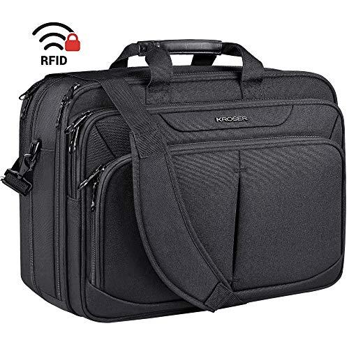 KROSER Laptop Bag 17.1' Upgraded Expandable Lightweight Briefcase for 17' Laptop Premium Business Work Bag Water-Repellent Messenger Bag with RFID Pockets for School/Travel/Women/Men-Black
