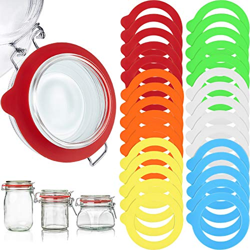 30 Stücke Silikon Glas Dichtungen Ersatz Wiederverwendbare Silikon Dichtungen Auslaufsichere Silikon Dichtung Ringe für Normale Mund Dosen Gläser, 6 Farben