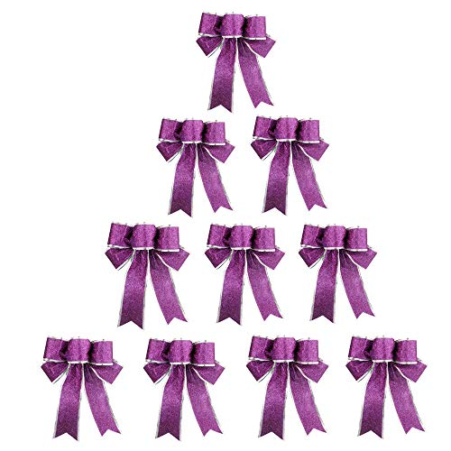 Meixinggu Christmas Tree Ornament Decorations Big Bow-Knot 9.84'' 10 Pcs Set (Purple)