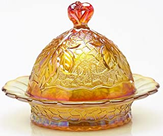 Butterdish - Maple Leaf Pattern - Mosser Glass USA - Marigold Carnival