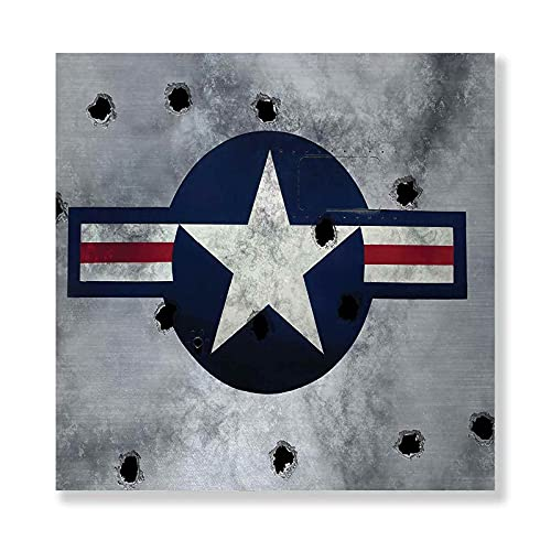Airplane Framed Canvas Wall Art, Army Logo USAF Star Round on Grunge Bullet Holes Aircraft Artwork Print, Wall decoration painting for home 8' x 8' Red Grey Blue White