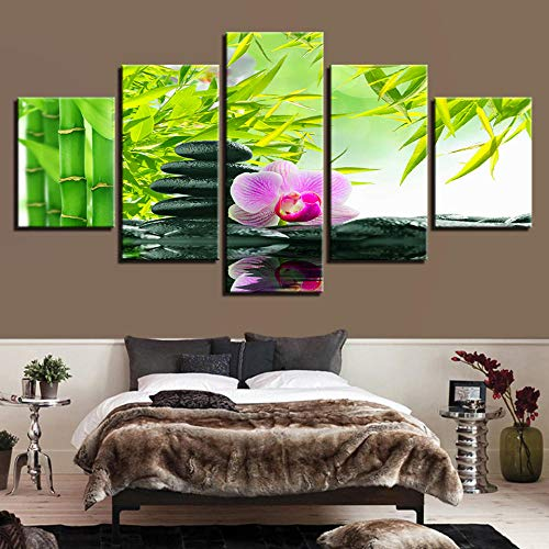 Chuixiaoxiao1 Modern Canvas Prints 5 Piece Wall Art Stones and flowers Home Decoration Painting Printed on Canvas for Bedroom Living Room Bathroom Office Home Decoration