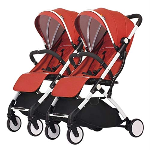 Best Prices! XZHSA Double Stroller | Lightweight Double Stroller with Tandem Seating (Color : Orange...