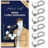 White Metal Collar Extenders by Johnson & Smith – Stretch Neck Extender for 1/2 Size Expansion of Men Dress Shirts, 5 +1 Pack, 3/8'