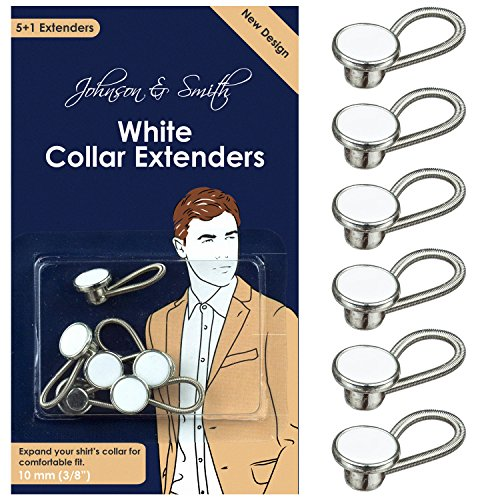 Johnson & Smith White Metal Collar Extenders Stretch Neck Extender for 1/2 Size Expansion of Men Dress Shirts, 5 +1 Pack, 3/8'