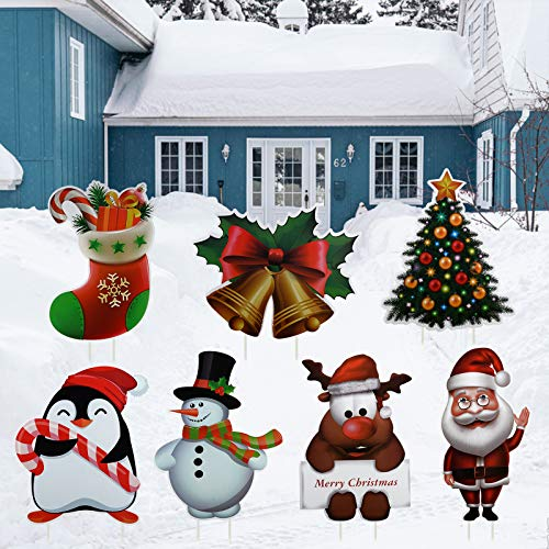 TITE 7 PCS Christmas Yard Sign with Stakes Holiday Outdoor Garden Lawn Decorations Stake Lawn Patio Yard Decorations