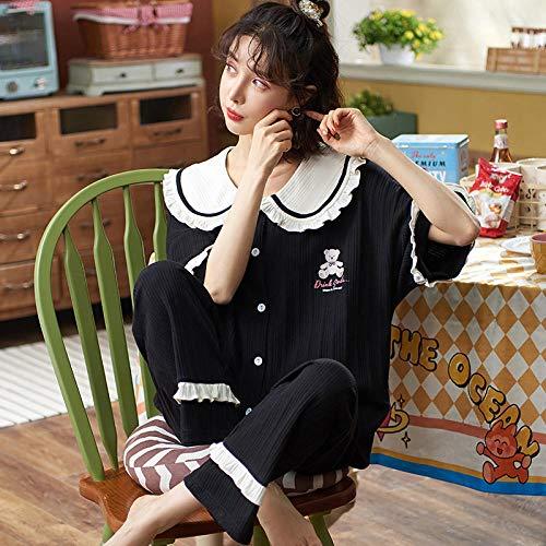 Pijamas Set Manga Larga Elegante y Moda,Pijamas de Verano para Mujer, Traje de Servicio a Domicilio de Dos Piezas de Talla grande-QM2530_XXXL