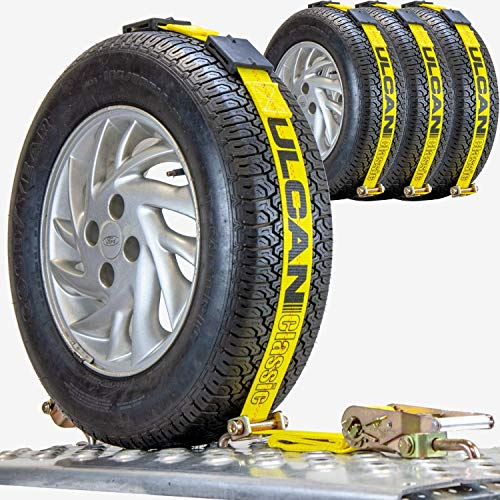 VULCAN Autohauler Car Tie Down - Rolling Idler Three Cleat - 120 Inch, 4 Pack - Classic Yellow - 3,300 Pound Safe Working Load