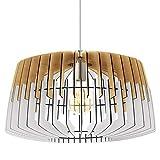 Eglo Artana - Lámpara de techo colgante vintage de acero y madera de níquel mate, color blanco natural, lámpara de mesa de comedor colgante con casquillo E27