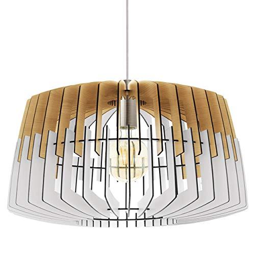 EGLO Lámpara colgante Artana, 1 foco, vintage, de acero y madera en níquel mate, natural, blanco, para mesa de comedor, para salón, con casquillo E27