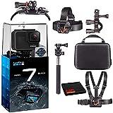 GoPro HERO7 Hero 7 Waterproof Digital Action Camera with Action Kit Accessories Body Bundle (Black)