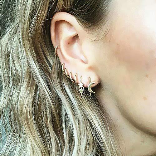 JINGJUAN Gouden Ster Maan Vorm Oorbellen Eenvoudige Oor Ring Etnische Sieraden Gift Kristal Ronde Geometrische Oorbellen Voor Vrouwen Bijoux