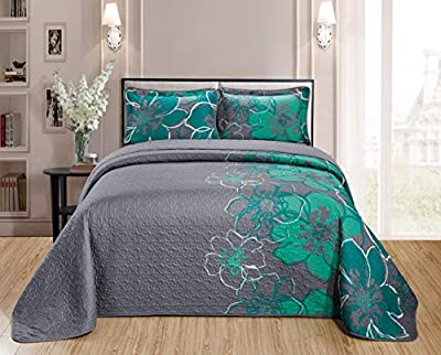 Home Collection Quilt Bedspread Set Over Size Flowers Printed Grey Turquoise King/California King New by Kids Zone Home Collection