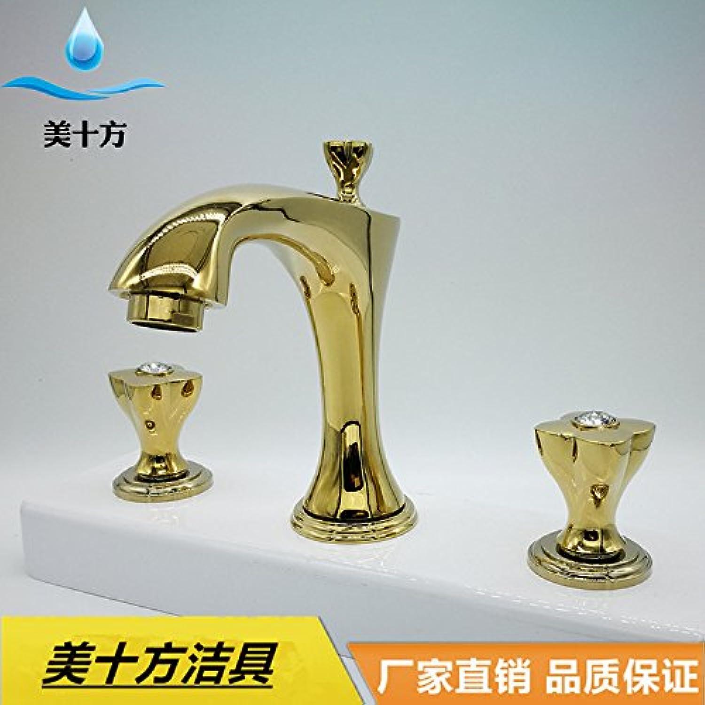 Jduskfl Wasserhahn Duscharmatur F6Lavatory Wasserhahn Dreiteiliger Continental Weiß Jade Waschtischarmatur, Standard