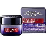L'Oréal Paris Revitalift Filler Nachtcreme mit Hyaluronsäure, Aufpolsternde Hyaluron Anti-Age Gesichtscreme, Mildert Falten und strafft die Haut, 50 ml