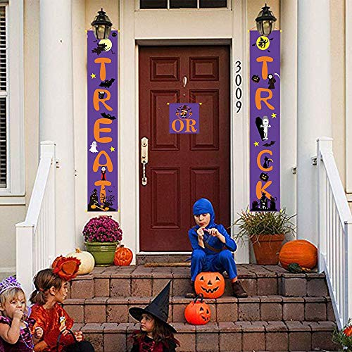 Tuindecoratie persoonlijkheid, 3-delig, snoepjes of een uitgang, Banner Halloween, opschrift buiten, opgehangen, met doodshoofd, kat, spin, model voor Halloween