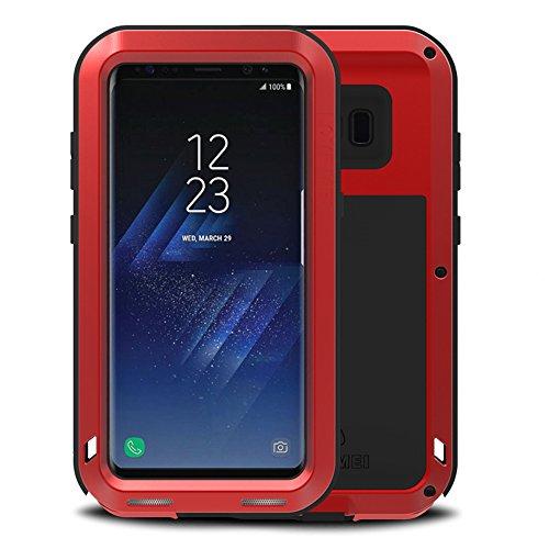 Fonrest Cuerpo Completo Funda paraSamsung Galaxy S8 Plus: 6,2-Pulgada Love Mei Poderosa Armadura del Metal de Aluminio a Prueba de Golpes Snowproof Cubierta Carcasa Hermética al Polvo (Rojo)