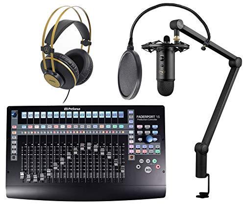 Presonus FADERPORT 16 USB DAW+Blue Yeti Mic+Mount+Boom+Pop Filter+AKG Headphones