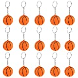 iMagitek 15 Pack Orange Basketball Keychains for Kids Party Favors Supplies, School Carnival Prizes, Party Bag Gift Fillers, Basketball Stress Relieve Ball