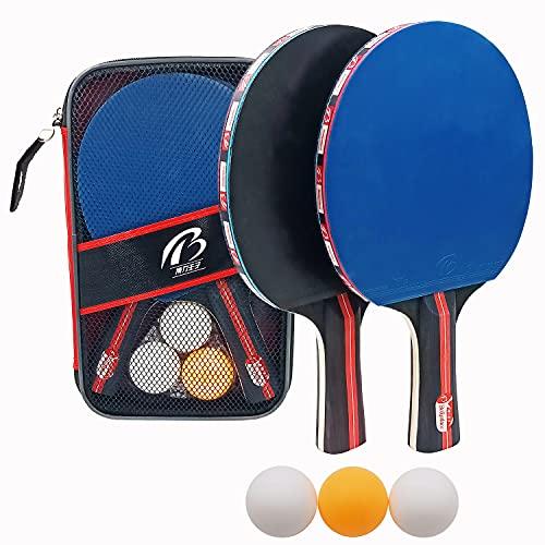 Tischtennisschläger Set,2 Spieler Tischtennis Set mit 2 Schläger und 3 Bälle,1 Tragetasche, Ping Pong Set Ideal für Anfänger, Familien und Profis,Kinder Erwachsene (Blau)