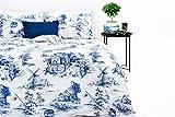 Marsala Home Juego de Funda Nórdica King 100% Algodón Azul Toile Juego de Cama de Diseño 3 Piezas con Fundas de Almohada Funda de Edredón Suave e Hipoalergénico (Azul Toile, Tamaño King)