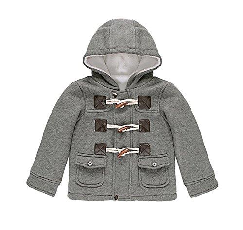 Carolilly Unisex Baby Dufflecoat Mantel Lang Baumwolle Warm Herbst Winterjacke(6M-3T) (Grau, 3 Jahre)