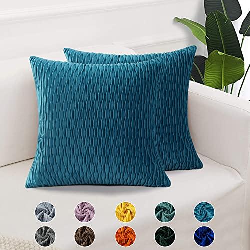 CAROMIO 2er Set Samt Soft Solid Dekorative Quadrat Wurf Kissenbezüge Set Kissen Fall für Sofa Schlafzimmer Türkis 40x40 cm16x16 inch