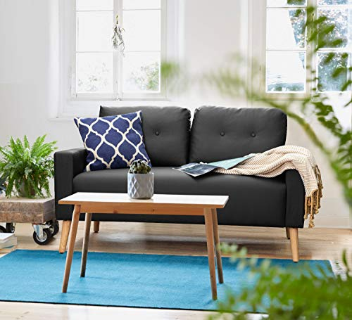 Homall Mid-Century Loveseat Couch,Upholstered Living Room Button PO Leather 2 Seater Sofa, Tool-Free Assembly, Black